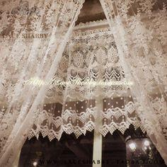 LACESHABBY进口定制法式乡村风格白色镂空钩花蕾丝窗帘窗幔咖啡帘