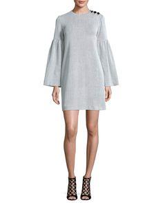 Crinkle-Knit Bell-Sleeve Shift Dress