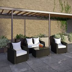 Fountain 4 Piece Sofa Set 974-EXP-WHI-SET by LexMod ~~~ Preside steadfastly at each assembly as concurrent movements take you forward. The Cohesion Outdoor Sectional Set brings you to a place of carefully considered output and restorative order. Embrace a homeostatic system where precise handiwork help you attain true collectivity. #garden
