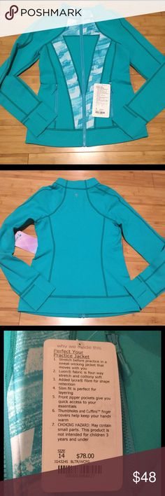 NWT ivivva perfect your practice jacket 14 Brand new, with tags, ivivva perfect your practice jacket. Ivivva is the youth line of  jacket is a girls 14, which is similar in size to a lulu 4. Retail $78 Ivivva Jackets & Coats