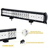 Auxbeam 20 LED Light Bar 126W CREE LED Bar with 42pcs 3W CREE Driving Light Combo Beam Waterproof for driving Off Road ATV SUV UTV Jeep