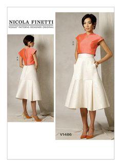 V1486 | Misses' Crop Top and Flared Yoke Skirt Sewing Pattern | Vogue Patterns
