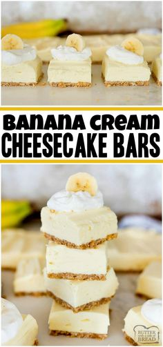 Easy Banana Cream Cheesecake Bars – Butter with a Side of Bread Banana Cream Cheesecake Bars is a simple, no bake cheesecake recipe with incredible banana flavor! Easy banana cheesecake recipe that everyone loves! Banana Pudding Cheesecake, Baked Cheesecake Recipe, Cheesecake Bars, Homemade Cheesecake, Homemade Snickers, Köstliche Desserts, Delicious Desserts, Easy Banana Desserts, Desserts With Bananas