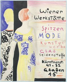 """Maria Likarz-Strauss, Plakat """"Wiener Werkstätte Spitzen Mode Kunstgewerbe Glas Seidenstoffe, Kärntnerstr. 41 und 32, Graben 15""""; Entwurf, Wien, um 1927"""