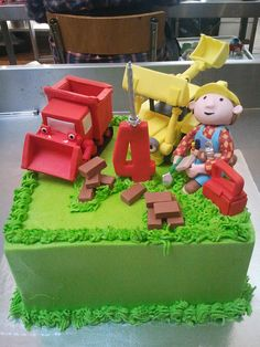 Square Wicked Chocolate cake iced in green butter icing decorated with 3D Bob the Builder, Muck Lofty figurines, fondant bricks 3D red #2 by Charly's Bakery, via Flickr