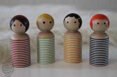 Waldorf Toy Wooden Girls Peg Doll People Play Set, Set of 4