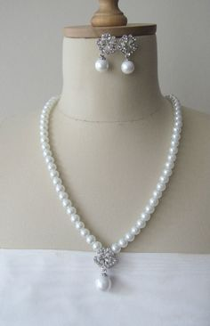 Bridal Set with Pearl  Rhinestones Necklace Drop by gebridal, $24.00