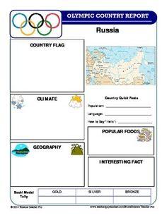 WINTER OLYMPICS COUNTRY REPORT SET - TeachersPayTeachers.com