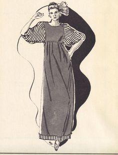 Vintage 70s, 80s Hawaiian Caftan MuMu Dress Pauloa 1029 Sewing Pattern