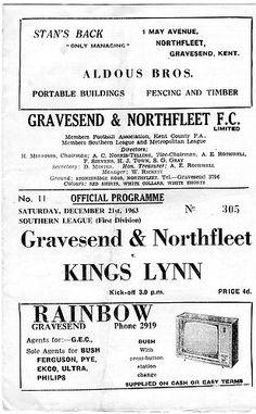 Gravesend & Northfleet FC Away   Southern League   21/12/1963