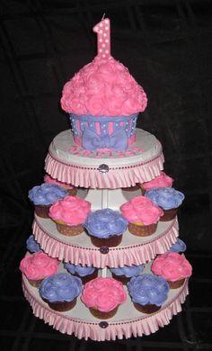 Pink cheetah print Princess Tiara first birthday cupcake tower by