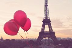 Red Balloons in Paris, Eiffel Tower, Paris Photography, Autumn in Paris, French Home Decor, Red