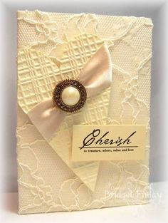 """Lace Covered """"Cherish"""" Wedding Card...with a heart...bfinlay-Cards and Papers at Splitcoaststampers."""