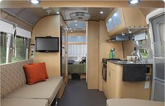 Glamping = Glamorous Camping Airstream - The Eddie Bauer Interior Trailer, Motorhome Interior, Airstream Travel Trailers, Travel Trailer Remodel, Airstream Motorhome, Airstream Living, Glamping, Glam Camping, Vintage Caravan Interiors