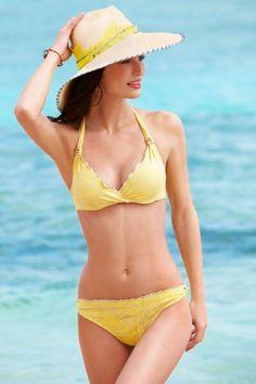 Women's Fashion Swimwear: Swimsuits, Bikinis, and Monokinis: Becca by Rebecca Virtue Women's Underwire Halter Bra Bikini Banana Yellow: Becca by Rebecca Virtue: Clothes