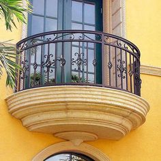 decorative wrought iron balconies ranging from French to Spanish Mediterranean to traditional European style are both elegant and functional elements of exterior decor. Balustrade Balcon, Balustrades, Balcony Grill Design, Balcony Railing Design, Wrought Iron Stair Railing, Wrought Iron Doors, Railings, Fence Gate Design, French Balcony