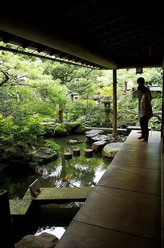 could have biopool bit of natural pool area extend around side of house and make it a feature in itself Garden Garden backyard Garden design Garden ideas Garden plants Nature Architecture, Japanese Architecture, Japanese Buildings, Pond Design, Landscape Design, Japan Garden, Ponds Backyard, Koi Ponds, Backyard Waterfalls