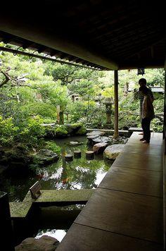 Japanese garden at samurai's house in Kanazawa