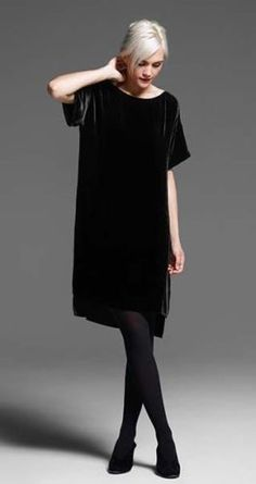 Eileen-Fisher-New-Black-Velvet-Bateau-Neck-Hi-Low-Dress-Size-PS-338