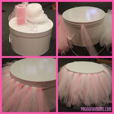 Super Cute TULLE CAKE STAND - Use different colors for different occasions - great for a baby shower, a princess birthday - LOVE! Frozen Party, Frozen Birthday, 1st Birthday Parties, Birthday Ideas, Ballerina Birthday, Princess Birthday, Girl Birthday, Paris Birthday, Princess Theme