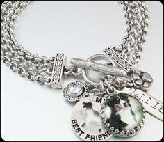 Personalized Dog Jewelry Dog Charm Bracelet by BlackberryDesigns, $68.00