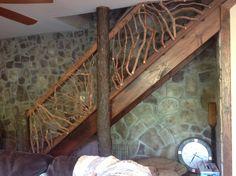 escaleras rusticas barandillas de ramas