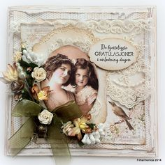 Vintage card by LLC DT Member Heidi Augustson, using papers from Pion Design's A Day in May collection.