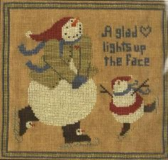 Choose Pattern Only or Pattern with Floss Kit from the drop down box, and Add to Cart. The floss kit includes the pattern and all flosses necessary to complete the project. If the flosses used on the model are not available, we will substitute with a color that is a very close match.  A wonderful primitive folk art design by Teresa Kogut, A Glad Heart features two charming snowmen spinning across the ice in their skates. I love the primitive colors used in this design.  Once completed, this…