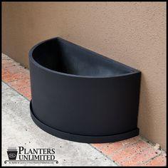 Half-Round Fiberglass Planter 18in.L x 9in.W x 18in.H