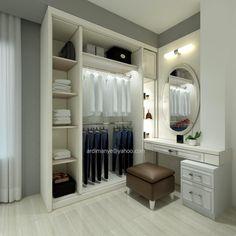 desain meja rias dan lemari pakaian tampak dalam desain interior Makassar