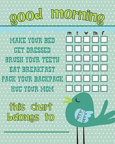 Free Printable Morning Routine Charts