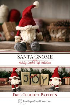 The Crochet Santa Gnome is the perfect amigurumi design to help bring extra holiday cheer into your or home or workspace. Whether using him as a holiday decoration, as a special gift, or for play, he's sure to add that extra touch of joy to the occasion. #freecrochet pattern #crochetgnome #Christmasgnome #crochetchristmas #gnomepattern Crochet Santa, Crochet Home, Crochet Gifts, Crochet Dolls, Free Crochet, Crochet Christmas Ornaments, Christmas Crochet Patterns, Crochet Animal Patterns, Christmas Crafts
