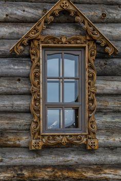 decorative carved wood window frame, pechenga monastery, kola peninsula, russia | architectural details