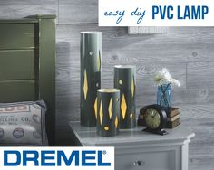 Upcycled PVC pipe lamps give off warm, cozy light and add visual interest to an end table. Click here for the easy, four-step tutorial: http://dremelweekends.com/pvc-lamp.html  Get all the tools needed here: http://www.dremel.com