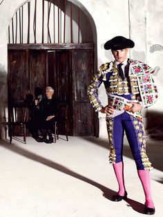 Dolce & Gabbana Spring/Summer 2015 advertising campaign, with Domenico Dolce acting as photographer and Stefano Gabbana as artistic director. The campaign's stars include 28 year-old Spanish bullfighter José Mari Manzanares as well as models Travis Cannata, Xavier Serrano and Misa Patinszki. Hair by Oribe Canales. Makeup by Pat McGrath.