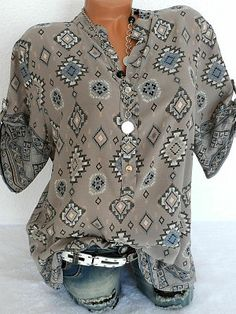 Band Collar Loose Fitting Geometric Printed Blouses ,Blouses for women, berrylook ,summer clothes, Womens Summer Clothing Blouse Band, Gris Rose, Maxi Robes, Cheap Fashion, Blue Fashion, Fashion Wear, Fashion Styles, Latest Fashion, Fashion Online