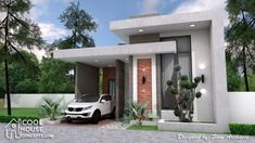 House Plans with 2 Bedrooms Terrace roof The House has:-Car Parking and garden-Living room,-Dining Bedrooms, 1 bathroom Small Modern Home, Modern Tiny House, Modern House Design, Best Small House Designs, Small Cottage Designs, Narrow Lot House Plans, House Floor Plans, Minimalist House Design, Minimalist Home