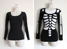 "Skeleton-cut Tee ~ Quote the blogger - ""You will need: An old black top * A white top to wear underneath * A pair of scissors * A white pen or chalk"" (by Cassiefairy via oxfam)"