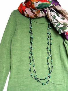 Unusual quirky green wooden beads Necklace, two strings. Full length 120 cm. Could be worn ans a set of one-string necklace and bracelet, if you just turn another string around wrist.