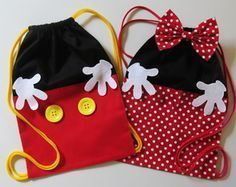 Minnie oder Mickey Rucksack - 20 x 30 cm, Fiesta Mickey Mouse, Mickey Party, Mickey Mouse Birthday, Mickey Minnie Mouse, Sewing For Kids, Baby Sewing, Sewing Crafts, Sewing Projects, Disney Crafts