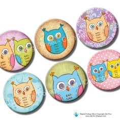 Doodle Owls 1 inch bottle caps circles images. by InkFive on Etsy, $4.20