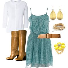 light ruffly dress + tall boots + cardigan (in another color#) + bel (maybe) @Carrie Brown