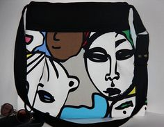 human faces print large pleated diaper bag/ large by leyyabags, $38.00