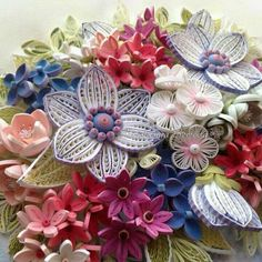 Bouquet of colourful quilled flowers