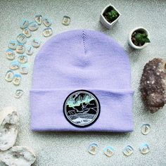 2be22848532 Northern Lights Glow in the Dark Beanie Hat Lavender Mint   Aurora  Borealis