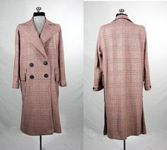 Vintage 1950s wool coat red white and blue by VintageRoseTattoo