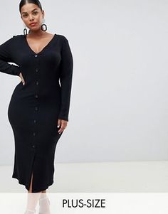 fc803524a3 ρούχα κλπ απαραίτητα · River Island Plus button down bodycon dress in black  Σύνολα Για Εύσωμους