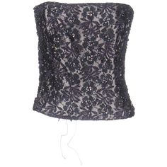 Cailan'd Tube Top ($400) ❤ liked on Polyvore featuring tops, dark purple, floral tops, flower print tops, blue sleeveless top, floral sleeveless top and lace tops
