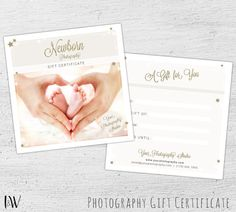Photography Gift Certificate, Photoshop Template for Photographers, Newborn Photography, Photography Gift Card, Marketing - 02-005-GC-V1