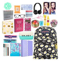 """""""what's in my backpack??"""" by maddiefisherxx ❤ liked on Polyvore featuring JanSport, Lilly Pulitzer, Forever 21, Vera Bradley, Sugar Paper, Simple Pleasures, Ray-Ban, Beats by Dr. Dre, Uncommon and Accessorize"""